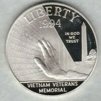 USA 1994P VIETNAM VETERANS MEMORIAL SILVER PROOF DOLLAR NEAR MINT WITH A CAPSULE