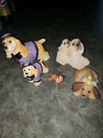 Lot of 5 Vintage? Cocker Spaniels Family Ceramic Miniature Figurines