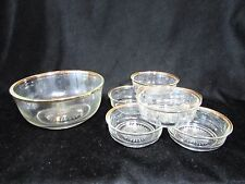 Vintage 7 Piece Mid Century Clear Glass Gold Trim Berry Bowl Set