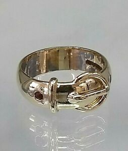Vintage 9ct Gold Buckle Ring Garnet Set (real gold not filled or plated) size P