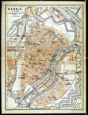 DANZIG (Gdansk), alter Stadtplan, gedruckt ca. 1900