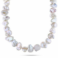 Amour Sterling Silver White Cultured Freshwater Pearl Necklace