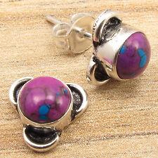 PURPLE COPPER TURQUOISE Gems Cute Little Stud Post Earrings 925 Silver Plated