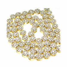 MEN'S 1 ROW ICED OUT GOLD WITH CLEAR CZ HIP HOP FLOWER CLUSTER CHAIN NECKLACE