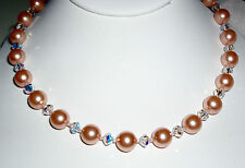 Rich Pink Swarovski Pearl and Crystal Necklace