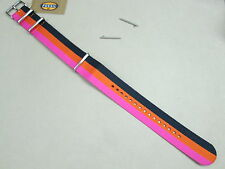 Fossil 22mm Zulu military weaved nylon watch band pink orange black S221129