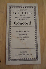 """Vtg 1926 Brochure~GUIDE to the Points of Interest in """"Historic CONCORD~Ephemera~"""