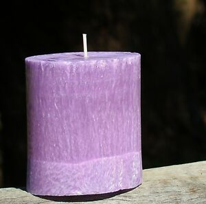70hr LAVENDER & AMBER Strong Scented Natural OVAL PILLAR CANDLE Home Essences