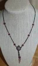 Victorian Style/ Pink & Metal Beads/Antique Copper Brass Chain/ Pendant Necklace