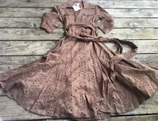 CAbi Dress Sz 8 Style #545 Brown Eyelet Wrap Pinup Rockabilly Boho NWT M01