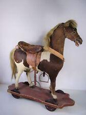 Antikes seltenes Pferd auf Rädern Schaukelpferd mit Echt Fell Glas Augen um 1890