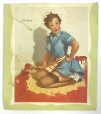 "1958 Calendar "" Cornered Pin Up Girl Stockings Risque Brown & Bigelow Paper"