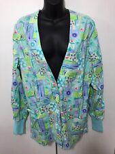 Womens Peaches Uniforms Multicolored Floral Scrub Jacket Size Small
