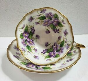 Paragon Violet Gold Rimmed Tea Cup and Saucer
