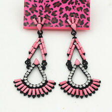 Betsey Johnson Bling Crystal Pink Resin Earbob Women's Fashion Dangle Earrings