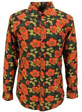 Mens 70s Mens Black Psychedelic Floral Poppy Shirt