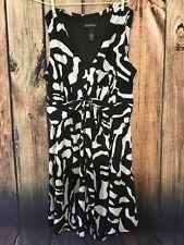 Lane Bryant Dress Black White V Neck Under Bust Knot Tie  Flowy Skirt Size 18