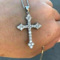 2.00 Ct Diamond Cross Pendant 14k White Gold Finish Solid Silver 50 MM Lenghth