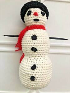 Vintage Crocheted Handmade Snowman Figure Plush