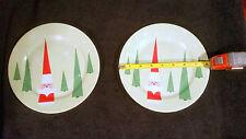 "LOT of 2 Rosanna Santa Tree Light Green  Salad Plate Christmas Holiday 8.25"""
