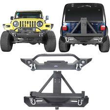 Front & Rear Bumper w/Tire Carrier & D-shackle for Jeep Wrangler TJ YJ 1987-2006