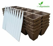 Seed Starter Pots Trays Biodegradable 5 pack - 50 Cells + 10 Plant Markers