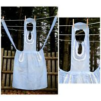 VTG 50's Lightweight Cotton Blue Bib Apron White Eyelet Trim Theater Costume