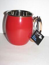 Fiesta ware, Moscow Mule Mug, Metal Coffee Cup, Copper Handle & Rim, Scarlet red