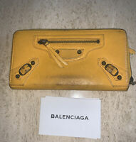 Authentic BALENCIAGA Long Zipper Bifold Wallet Purse Leather
