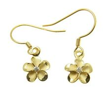 SILVER 925 HAWAIIAN PLUMERIA FLOWER YELLOW GOLD PLATED EARRINGS WIRE HOOK CZ 8MM
