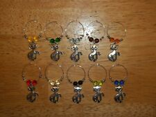 PRETTY CAT Wine Glass Charms Marker set of 10