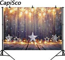Wooden Board Backdrops Shiny light bulb Star Christmas Photography Backgrounds