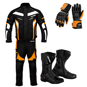 Motorcycle Racing Textile Suit Motorbike Riding Leather Boots Waterproof Jackets
