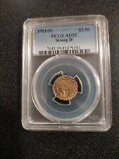 1911-D (STRONG D) $2.50 GOLD QUARTER EAGLE ✪ PCGS AU-55 ✪ INDIAN HEAD