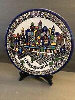 "Vintage Jerusalem Hand Painted Decorative Ceramic Wall Plate 11"" Signed J Tamimi"
