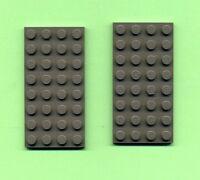 Lego--3035--Grundplatte---Bauplatte--2 Stück--Grau/OldDkGray-- 4 x 8 --