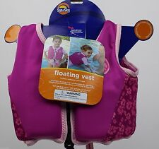 Sun & Sky Pink Flowers Girls Floating Vest Large 27-28 in Chest Ages 3-5 NWT