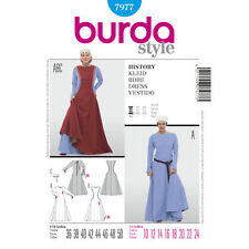 Burda 7977 Sewing Pattern Misses' Medieval Queen Costume Middle Age Dress 10-24