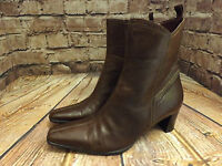 Womens Brown Leather Zip Fastening Mid Heel Ankle Boots Size EU 40