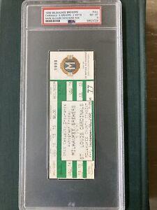 MARK McGWIRE 1998 MILWAUKEE BREWERS full ticket PSA nm-mt 8 64th HOME RUN #64