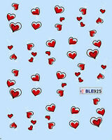 Red Heart Outlined Love Sweet Water Transfers Nail Art Sticker Decals Decoration