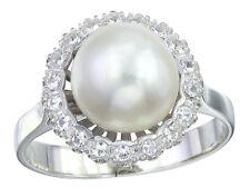 Ring Perle und Diamanten 750er Weißgold
