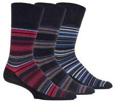 3 Pairs Mens Black Blue Red Grey Stripe Gentle Grip Socks, UK Size 6-11