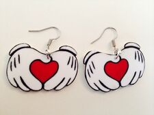 Disney Mickey Hands With Heart Valentines Day Earrings HANDMADE PLASTIC CHARMS