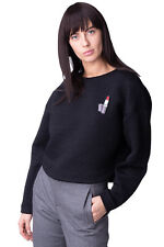 AMERICAN RETRO Quilted Sweatshirt Size 38 / S Black Embellished Brooch RRP €219