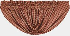 Burgundy Check Balloon Valance Lined Country Farmhouse Red Dark Tan 100% Cotton