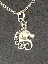 "Unicorn Head Horse Charm Tibetan Silver 18"" Necklace BIN"