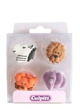 Culpitt 12 Animal Faces Edible Cupcake Cake Sugar Piping decorations Toppers