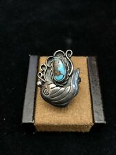 Vintage Native American Sterling Silver Bird Turquoise Ring Size 7 3/4