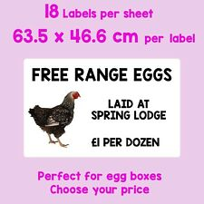 180 EGG BOX LABELS DESIGN YOUR OWN PERSONALISED CHICK, EGG, CHICKEN, POULTRY,